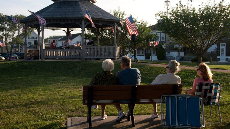 Residents sit near the gazebo at Veterans Memorial Park in Beach Haven, N.J. (Shumita Basu/for NewsWorks)