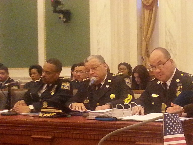 Polie Commissioner Ramsey (Center) flanked by deputies as he talks to City Council (Tom MacDonald/WHYY)