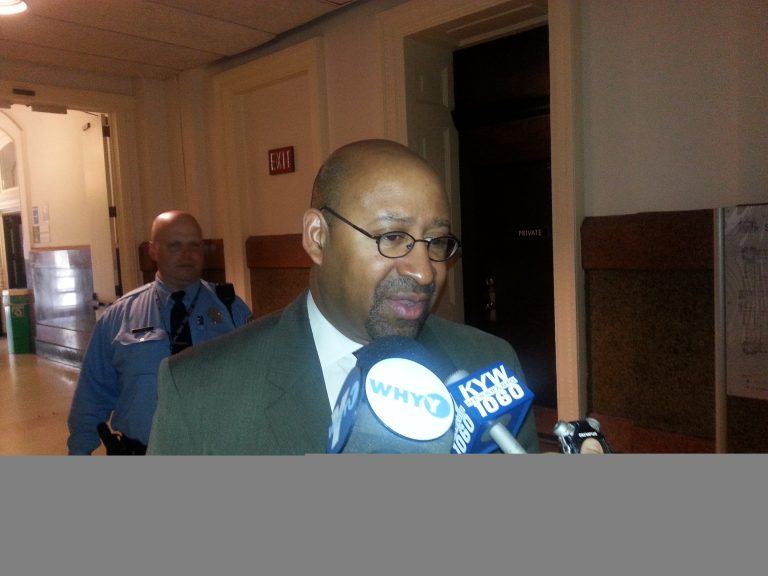 Mayor Michael Nutter talks about the World Meeting of Families (Tom MacDOnald/WHYY)