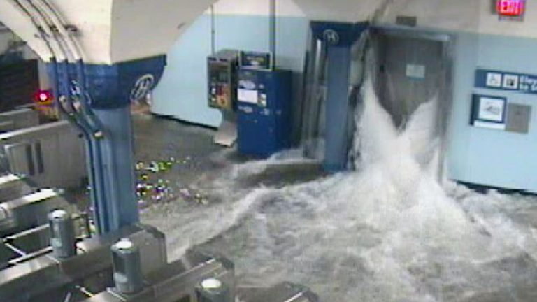 Hoboken's PATH station during Superstorm Sandy. Hoboken's mayor claims Sandy aid was withheld for political reasons. (AP Photo/Port Authority of New York and New Jersey)