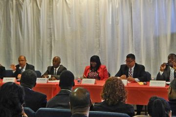 Citizens Campaign moderator (left) Heather Taylor with five of the six Trenton mayoral candidates. (Courtesy of the Citizens Campaign)