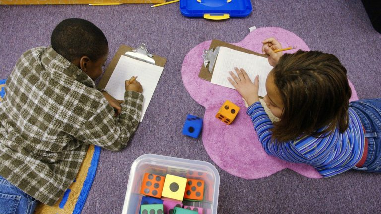 Students working at Pace Charter School in Hamilton, N.J. (AP Photo/Mike Derer)