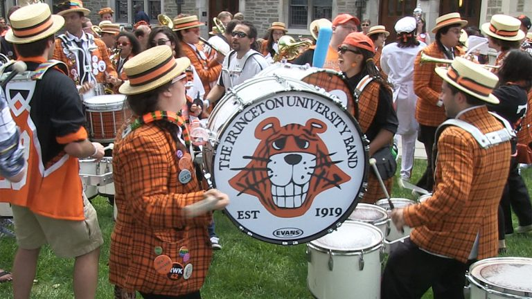 The Princeton University Band performs a pop-up concert as part of this weekend's reunion activities. (Photo courtesy of Evelyn Tu)