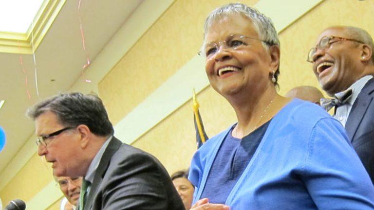 (Bonnie Watson Coleman (right). (Photo courtesy of NJ Spotlight)