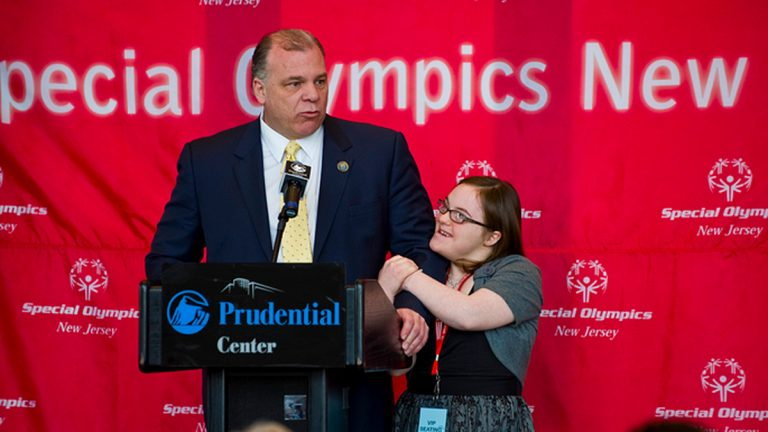 N.J. state Senator Stephen Sweeney and his daughter Lauren at the press conference about N.J.'s support for the Games. (Courtesy of Special Olympics)