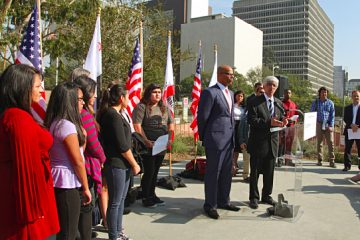 Attorneys and nine California students who sued the state to abolish its teacher tenure laws address the media. (AP Photo/Nick Ut)