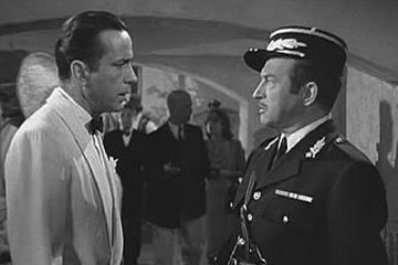 Scene from Casablanca: Captain Renault proclaims he's shocked that gambling is taking place.