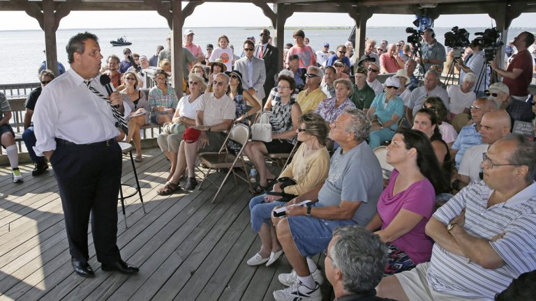 Gov Chris Christie (R-NJ) speaking to a crowd in Long Long Beach Township on Tuesday. (AP Photo/Mel Evans)