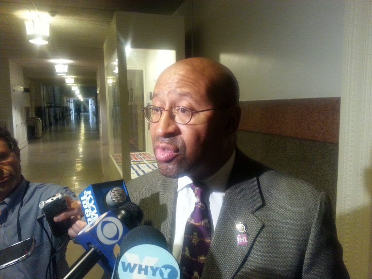 Mayor Michael Nutter said Tuesday a city measure decriminalizing small amounts of marijuana is not a priority. (Tom MacDonald/WHYY)