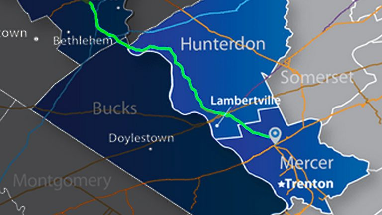 Proposed pipeline would run from NE Pennsylvania into New Jersey. (Image via Penn East Pipeline)