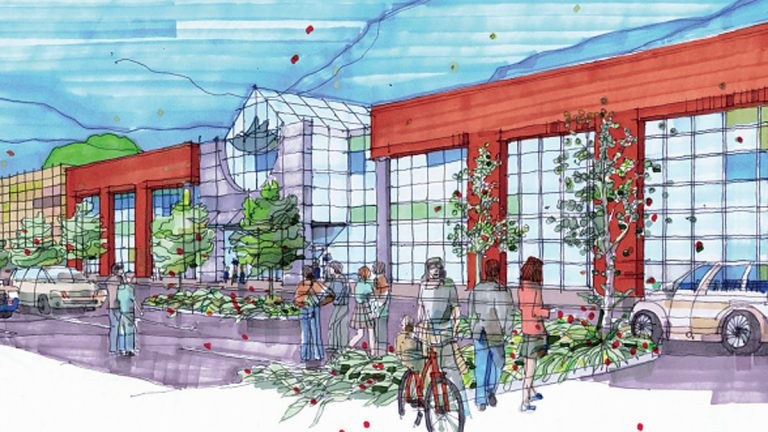 Artist rendering of a renovated Burlington Center Mall
