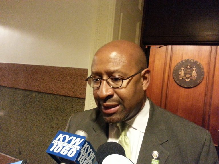 Mayor Michael Nutter announces pot bill compromise (Tom MacDonald/WHYY)