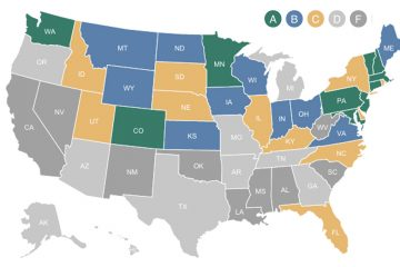 This map shows each state's overall grade in 'Education Effectiveness