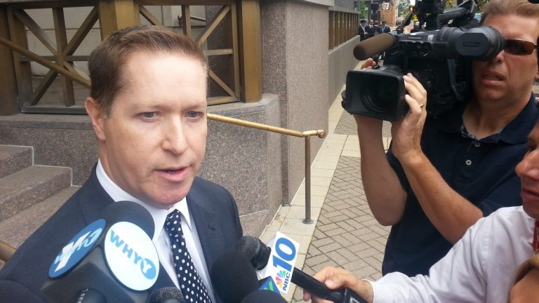 Attorney John Cunningham represented Revel at the hearing in Camden. (Tom MacDonald/WHYY)