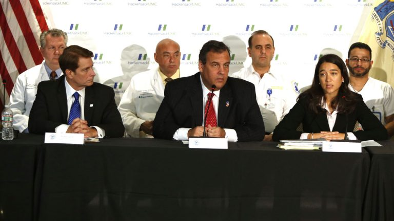 Gov. Chris Christie, center, outlines New Jersey's preparations for the possibility of Ebola. State Health Commissioner Mary O'Dowd, left, said there are no confirmed or suspected cases in the Garden State. (Tim Larsen/Governor's Office)