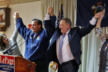New Jersey Gov. Chris Christie, second from left, campaigns for Republican Maine Gov. Paul LePage on Nov 3, 2014. LePage was re-elected Tuesday. (AP Photo/Robert F. Bukaty)