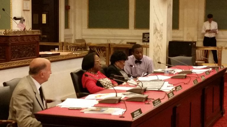 Philadelphia City Council members hear testimony on a proposal to extend a homeowners tax break to  children who live in, and then inherit, the family home. (Tom MacDonald/WHYY)