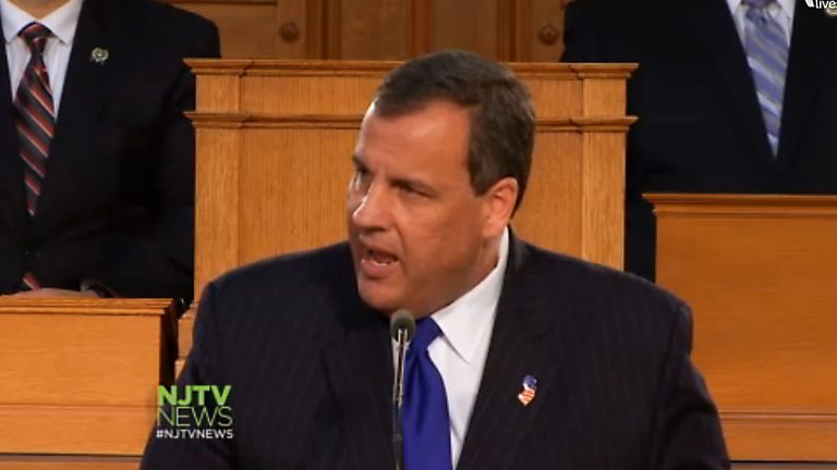 Governor Christie delivering his fifth State of the State address on January 13, 2015. (Image via NJTV)