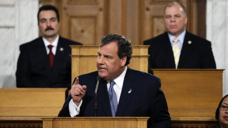 New Jersey Senate president Stephen M. Sweeney, right, D- West Deptford, N.J., and Assembly Speaker Vincent Prieto, left, D-Secaucus, N.J., listen as Gov. Chris Christie emphasizes a point while delivering his State of the State address Tuesday, Jan. 14, 2014, at the Statehouse in Trenton, N.J. (Mel Evans/AP Photo)