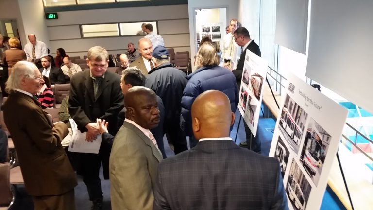 SEPTA officials talk with riders about capital improvements during an open house at  SEPTA headquarters.