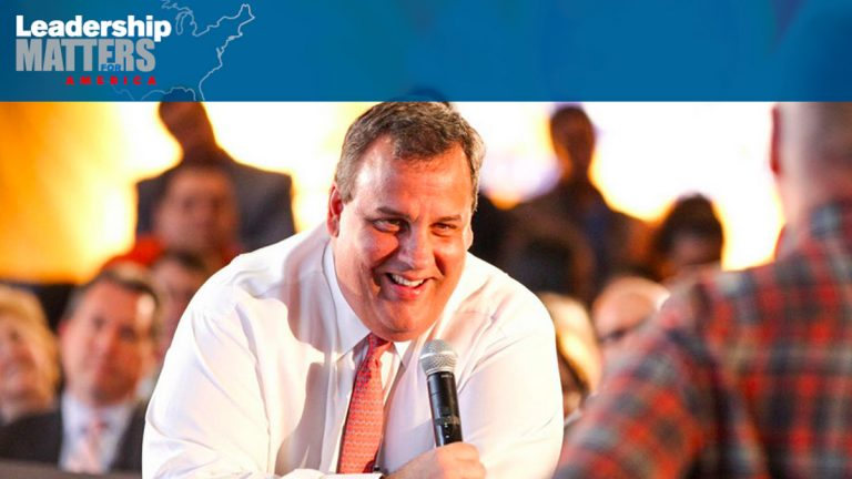 Homepage photo on Christie's Leadership Matters PAC website.