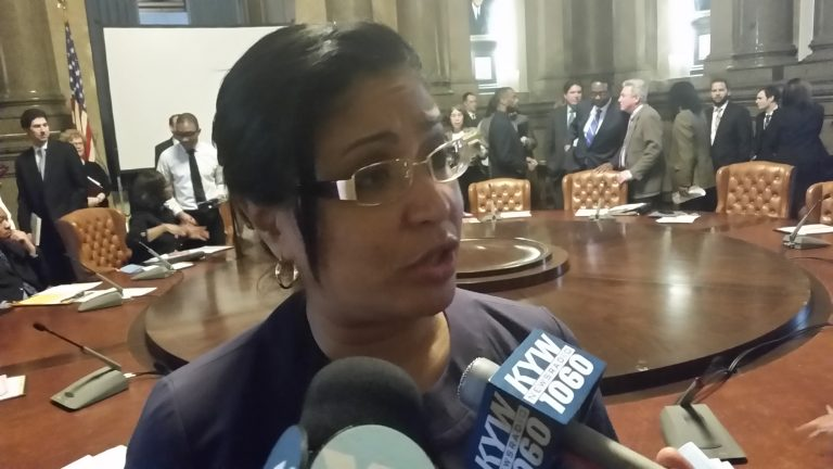 Philadelphia Councilwoman Quiñones-Sánchez discusses the proposal to make the city's agencies and departments more accessible to non-English speakers. (Tom MacDonald/WHYY)