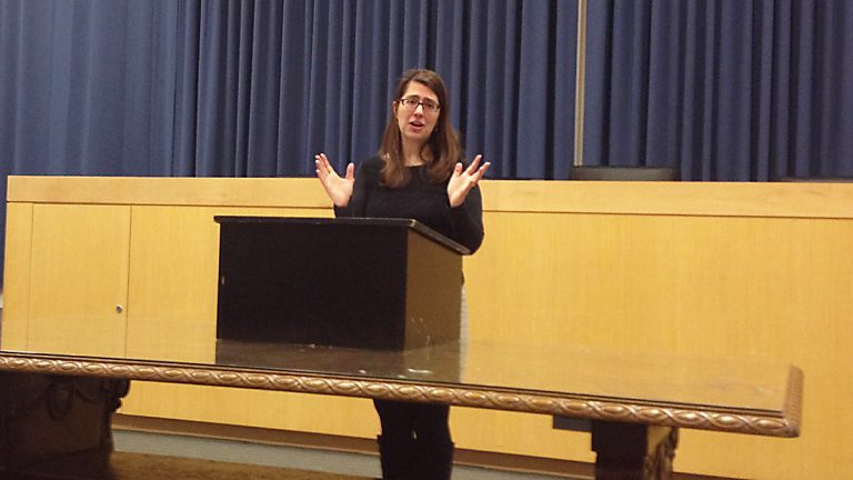 Princeton Mayor Liz Lempert speaking on Weds, Feb 25, 2015 in Whig Hall. (Anna Windemuth/for NewsWorks)