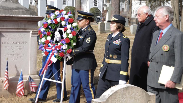 Wreath being presented in front of President Grover Cleveland's tombstone in Princeton, N.J. in 2014.
