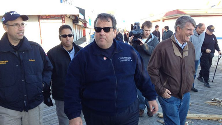 Gov. Christie tours the Seaside Heights boardwalk shortly after Sandy. (Scott Gurian/WYNC)
