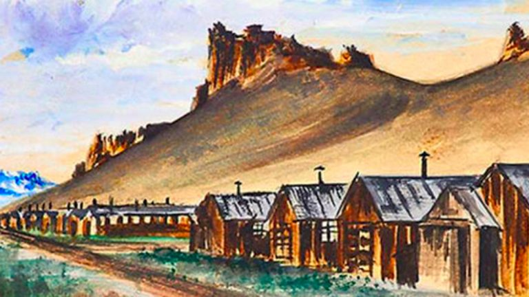 A watercolor by an unknown artist of a Japanese-American internment camp. Credit Rago Arts & Auction Center