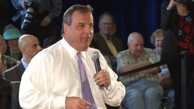 Gov Christie speaking at a town hall last week in  in Hasbrouck Heights, NJ. (Image from YouTube)