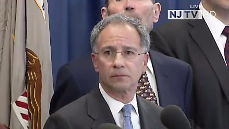 US Attorney Paul Fishman answers questions about the indictments of Bridget Kelly and Bill Baroni. (Image via NJTV)