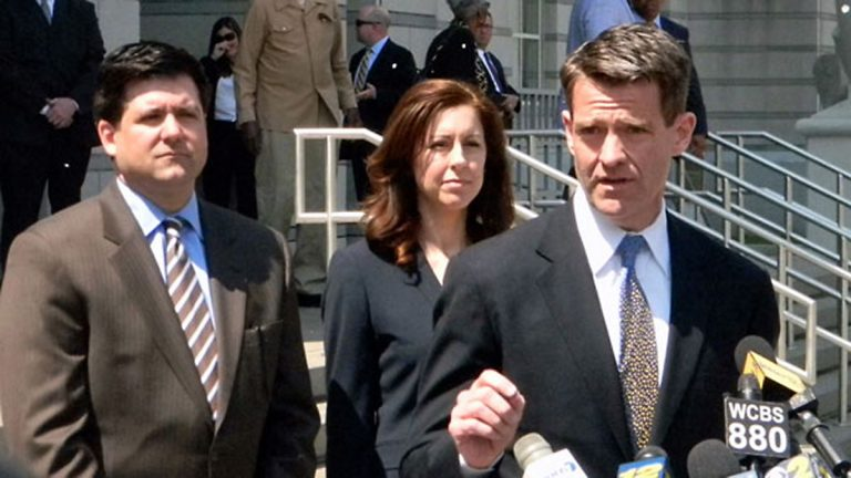 Bill Baroni with his lawyers outside of Newark federal courthouse.