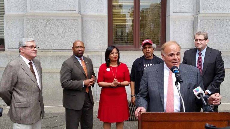 Former Mayor and Gov. Ed Rendell speaks to crowd supported by, from left, former Mayor Bill Green Sr., Mayor Michael Nutter, Councilwoman Maria Quiñones-Sánchez, former Mayor John Street and former Councilman Bill Green Jr. (Tom MacDonald/WHYY)