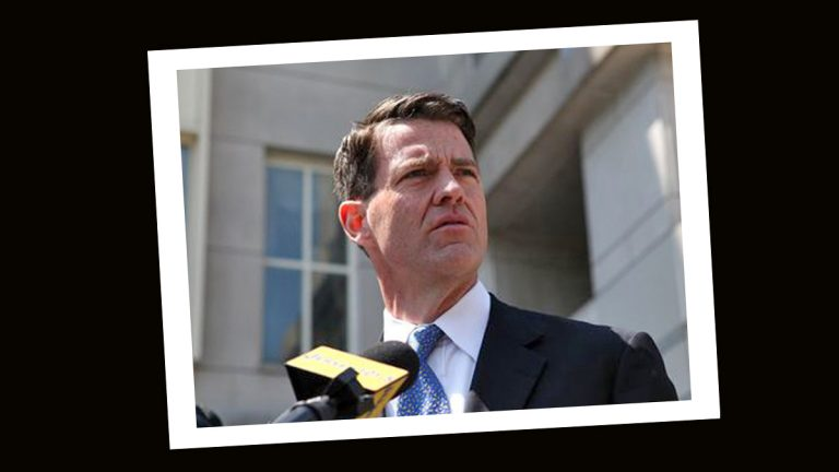 Bill Baroni, former deputy executive director at the Port Authority of New York and New Jersey, speaking outside Newark federal court after his arraignment (Stephen Nessen/WNYC)