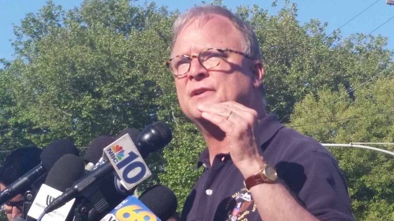 Robert Sumwalt of the National Transportation Safety Board said the engineer of the Amtrak train that derailed Tuesday night will speak with investigators. (Tom MacDonald/WHYY)