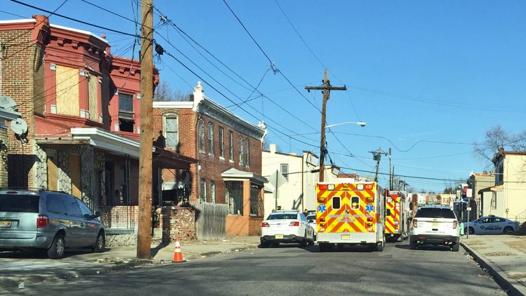 Ambulances on the scene of a car accident in Camden, NJ (Alan Tu/WHYY, file)