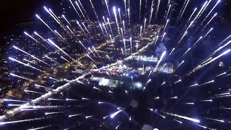 Screen capture from a video showing a drone view of the July 4, 2014 fireworks above Wildwood, N.J. It was shot by Matt Ulmer.