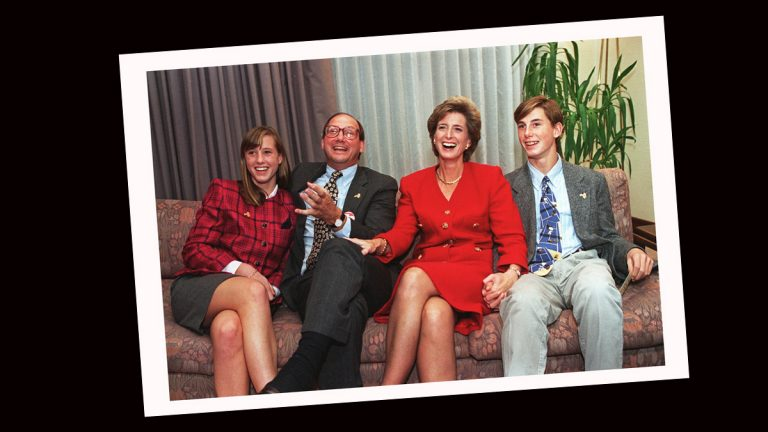 NJ gubernatorial candidate Christie Whitman, second from right, is joined by her daughter Kate, left, husband John and son Taylor, right as they watch election returns, November 2,1993. (AP PHOTO/Mike Derer, file)