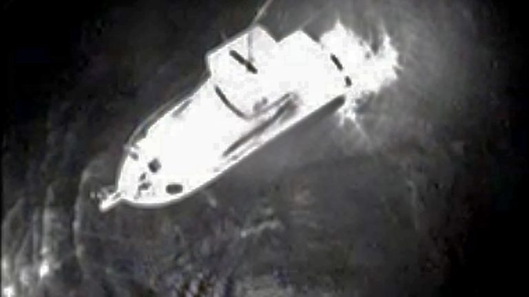 View from a Coast Guard helicopter showing a boat near where the man was discovered. Image courtesy of the US Coast Guard)