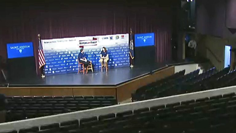 Screen capture of C-Span's live stream showing production crews setting up for tonight's event.