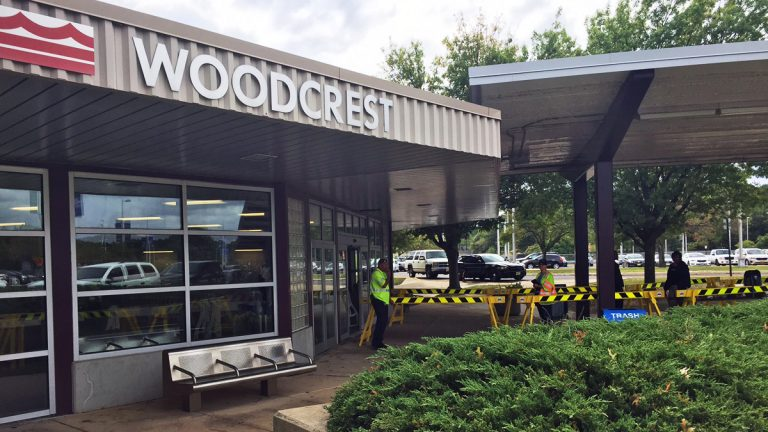 Woodcrest Station this morning at 11:20 a.m. (Alan Tu/WHYY)