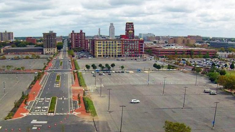 Camden's Waterfront district is known for it's great views of Philadelphia and ample parking. (Alan Tu/WHYY)