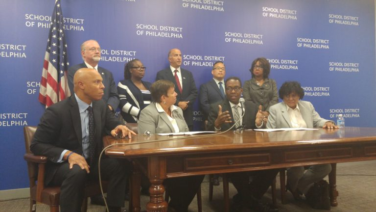 Philadelphia City Council members and the city's School Reform Commission discuss the new transparency agreement now in place. (Tom MacDonald/WHYY)