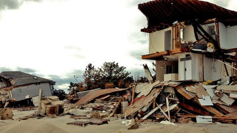 Wreckage of a beachfront home in Mantoloking in the immediate aftermath of superstorm Sandy.