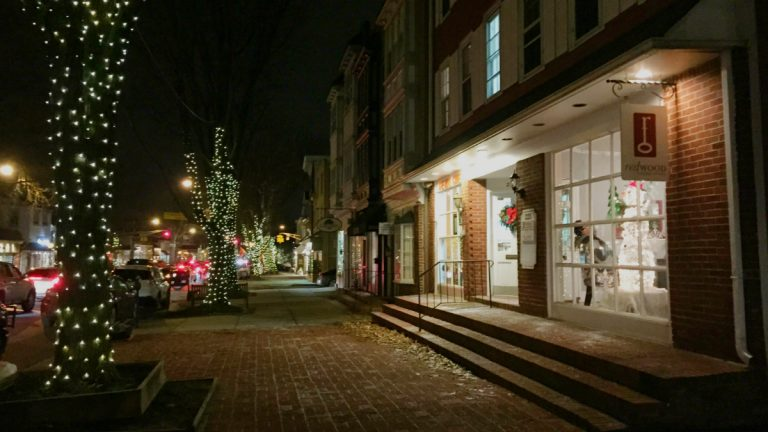 Downtown Haddonfield is lined with stores and restaurants. (Alan Tu/WHYY)
