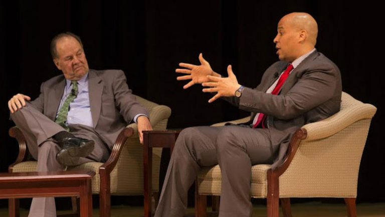 Former Gov. Thomas Kean Sr. (left) and U.S. Sen. Cory Booker (NJ) at forum hosted by United Way of Northern New Jersey. (Courtesy of United Way)