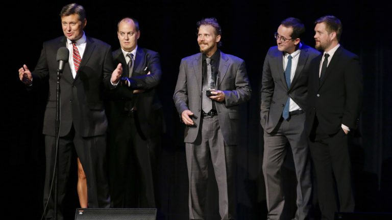 In this Sept. 27, 2012 file photo, the Gibson Brothers accept the entertainer of the year award at the International Bluegrass Music Association Awards show in Nashville, Tenn. (AP Photo/Mark Humphrey, File)