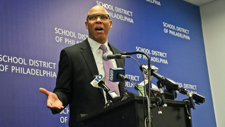 Superintendent William Hite discusses the 2015 Philadelphia schools' 440 million dollar budget deficit at a press conference Friday. (Kimberly Paynter/WHYY)