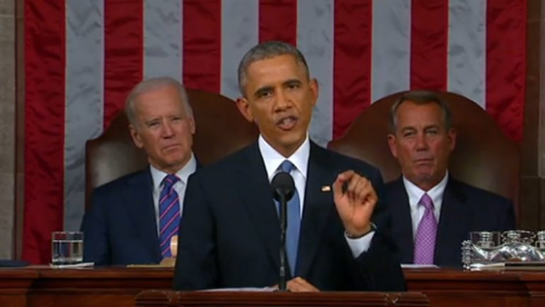 President Barack Obama addresses the nation during the 2015 State of the Union (Image via FactCheck.org)